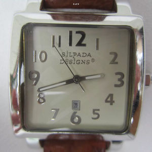 Vintage Silpada Silver Tone Watch Brown Strap